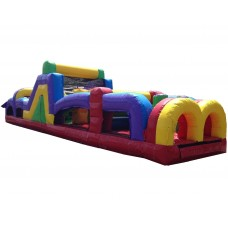 Pogo 40' Retro Commercial Inflatable Obstacle Course with Blower Kids Bouncy Jumper