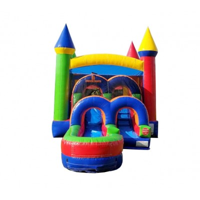 Pogo Rainbow Commercial Kids Jumper Inflatable Bounce House with Blower and Slide
