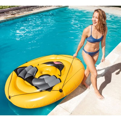 Intex Giant Inflatable Emoji Cool Guy Island Lounger Ride-On Pool Float (3 Pack)