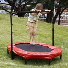 Mini Trampoline with Safety Pad&Adjustable Handlebar, 6 Legs Trampoline 55.8 x 35.5""