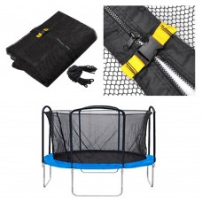 "15Ft 4 Arch 8 Pole Trampoline Round Enclosure Net 160"" Diam. x 71""H Fence Mesh Netting Replacement Zipper"