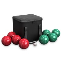 Bocce Ball Set- Outdoor Family Bocce Game for Backyard, Lawn, Beach and More- Red and Green Balls, Pallino, and Equipment Carrying Case by Hey! Play!   570145529