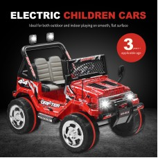 Uenjoy Kid's Power Wheels 12V Ride on Car Ride on Truck 2 Speeds with Remote Control/ Leather Seat/ UV Lights Red