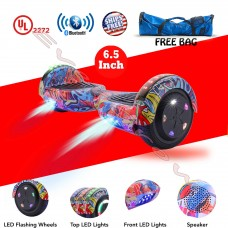 "UL 2272 Certified 6.5"" Hoverboard Bluetooth Speaker LED 2 Wheel Smart Electric Self Balancing Scooter Red+ Bag (WHEELS-UC6.5-PINK-CAMO)"