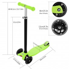 Aluminum Alloy Kids Kick Scooter  3 Wheel Folding Scooter T Style Handle Bar