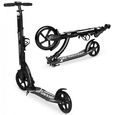EXOOTER M1850CB 6XL Adult Kick Scooter With Front Shocks And 240mm/180mm Black Wheels In Charcoal Finish.