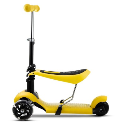 Kids 3 Wheel Mini Kick Scooter, 3-in-1 Toddler Scooters with Adjustable Handle T-Bar & Seat for Boys Girls (Age 3-10) Kimimart
