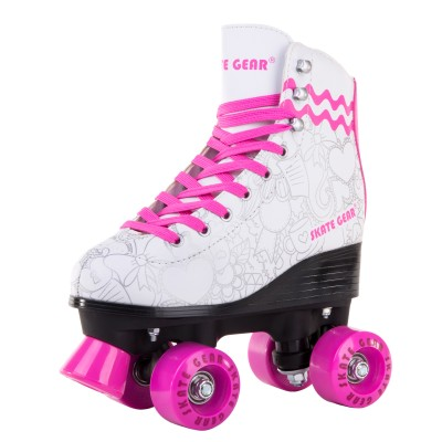 Cal 7 Roller Skates for Indoor & Outdoor Skating, Faux Leather Boot with Quad Design, Ankle Support Frame, Adults & Kids (Graphic White, Youth 2)