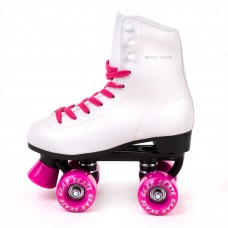Cal 7 Soft Boot Roller Skate, Retro Fashion High Top Design in Faux Leather for Indoor & Outdoor (Pink, Youth 6 / Men's 6 / Women's 7))