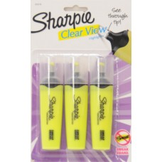 Sharpie Clear View Highlighters, 3-Pack, Yellow   555193865