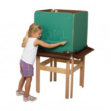 Wood Designs 4 Sided Easel with Chalkboard and Brown Trays