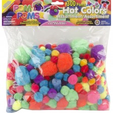 Pepperell Pom Poms, Assorted Hot Colors, 300-Pack   551178812