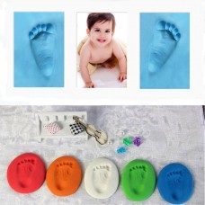 Infant Baby Kids Handprint Footprint Clay Special Baby Diy Air Drying Clays Blue