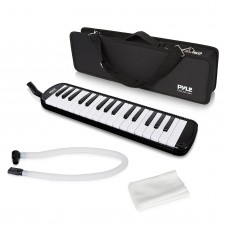Pyle Black Professional Keyboard Harmonica Instrument - Also Called Mouth Organ, Wind Piano - Tremolo Key Melodica Kit Set Includes Mouthpiece, Tube Accessories - Great for Beginner or Band   567356147