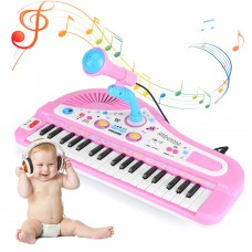 VBESTLIFE Mini Electronic Piano,Kid Electronic Keyboard Piano With Microphone 37 Keys Educational Instrument Toy Baby Gift Kid Electronic Piano