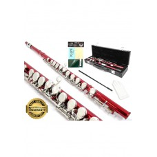 D'Luca 400 Series Red 16 Closed Hole C Flute with Offset G and Split E Mechanism, PU Leather Case, Cleaning Kit and 1 Year Manufacturer Warranty