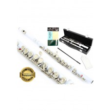 D'Luca 400 Series White 16 Closed Hole C Flute with Offset G and Split E Mechanism, PU Leather Case, Cleaning Kit and 1 Year Manufacturer Warranty