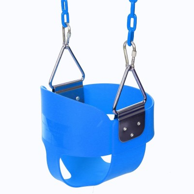 Cute High Full Bucket Swing With Coated Chain,Toddler Swing Set Swing Seat Outdoor Kids Toys USHHE