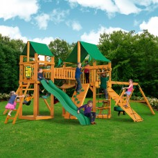 Gorilla Playsets Pioneer Peak Swing Set with Natural Cedar Posts and Deluxe Green Vinyl Canopy   554089694